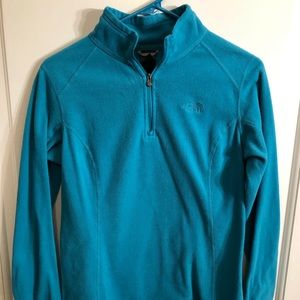 North Face teal fleece quarter zip sweater